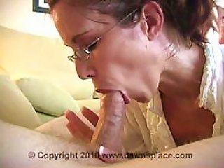 Glassed Brunette Milf Gives Blowjob And Swallows  In An  Vid
